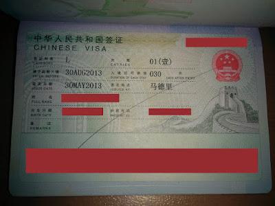 visado de turismo china