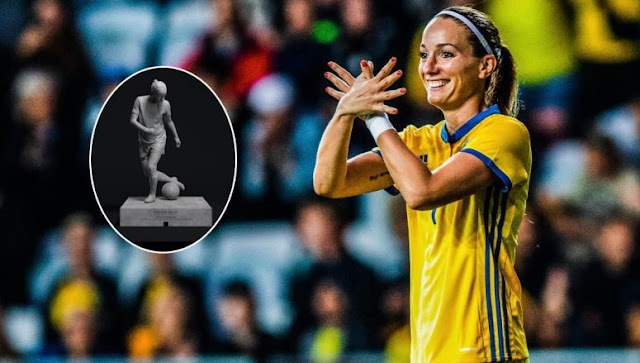 A Statue erected in the honor of Albanian footballer Kosovare Asllani in Sweden