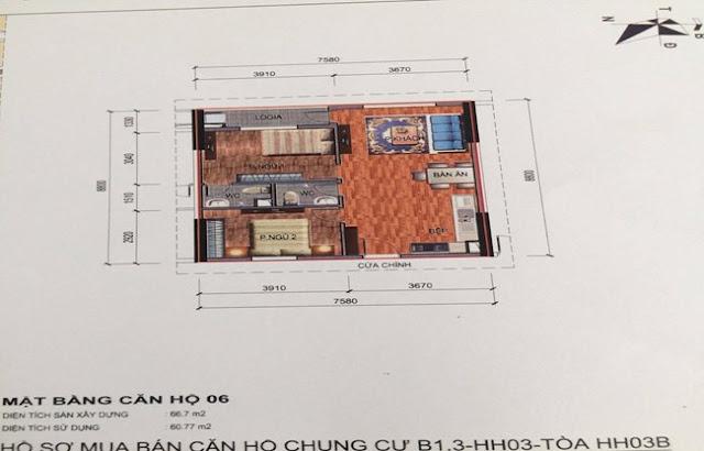 Sơ đồ thiết kế căn hộ 06 chung cư B1.3 HH03B Thanh Hà Cienco 5