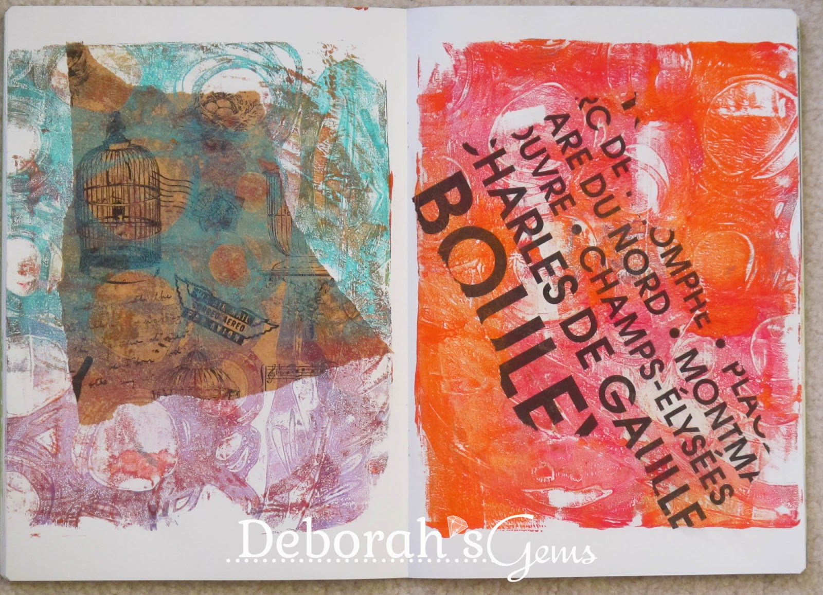 Gelli Journal 4 - photo by Deborah Frings - Deborah's Gems