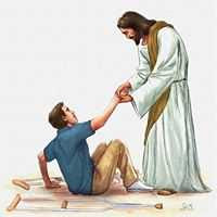 Jesus helping a man to get up