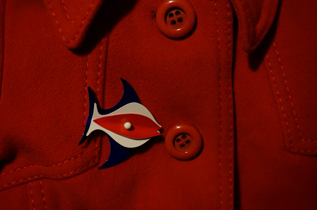 broche poisson années 60  vintage red white blue fish brooch 1960s 60s