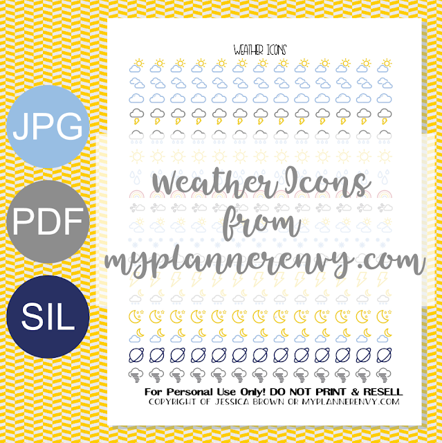 Free Printable Weather Icon Stickers from myplannerenvy.com
