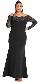 Vestido largo negro de talla grande con mangas y escote de encaje de la tienda Elegrina