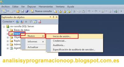 Creación de un inicio de sesión en SQL Server 2008