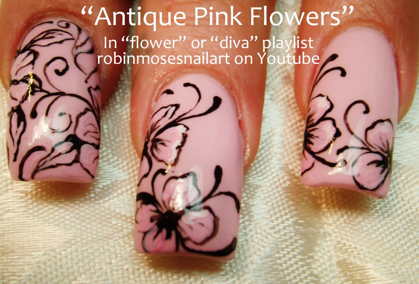 Nail Art By Robin Moses Flower Nail Art Antique Flower Nails