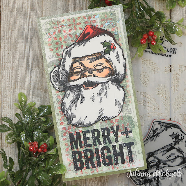 Merry Bright Jolly Santa Slimline Christmas Card by Juliana Michaels featuring Tim Holtz Stampers Anonymous Jolly Santa and Bold Tidings Stamp Set