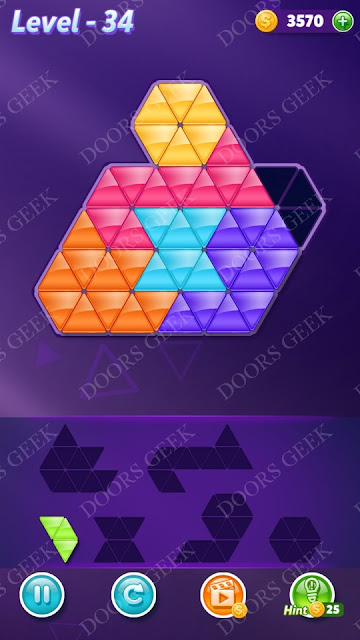 Block! Triangle Puzzle Intermediate Level 34 Solution, Cheats, Walkthrough for Android, iPhone, iPad and iPod