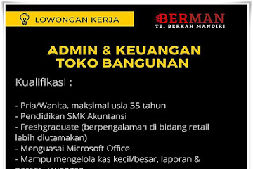 Lowongan Kerja Bandung Admin & Keuangan Toko Bangunan