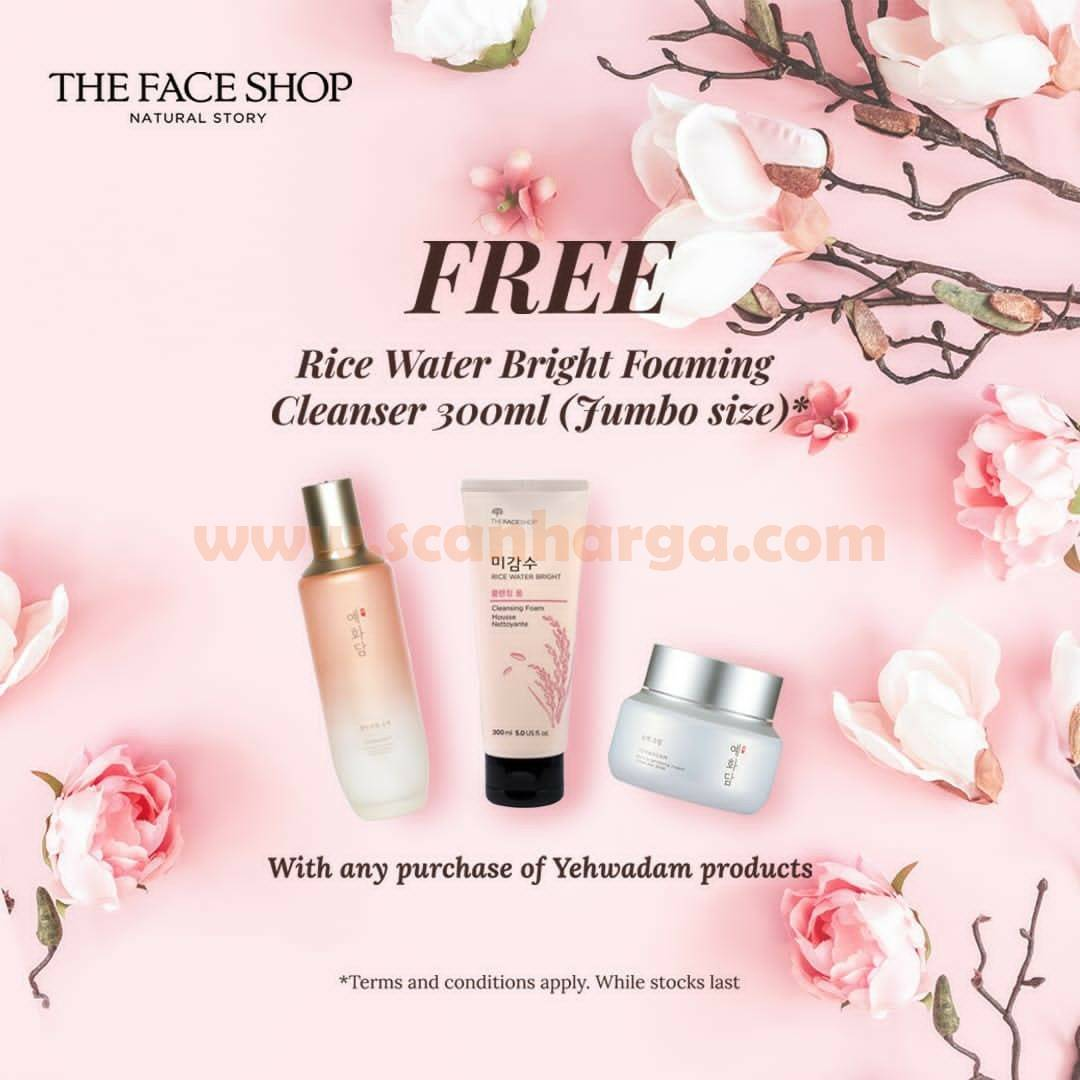 Promo The Face Shop Free Rice Water Bright Foaming Cleanser Jumbo size*