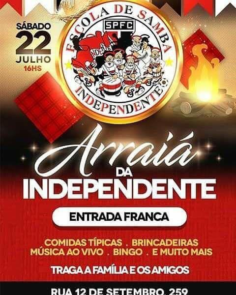 Flyer do Arraiá do dia 22 de julho da Independente Tricolor