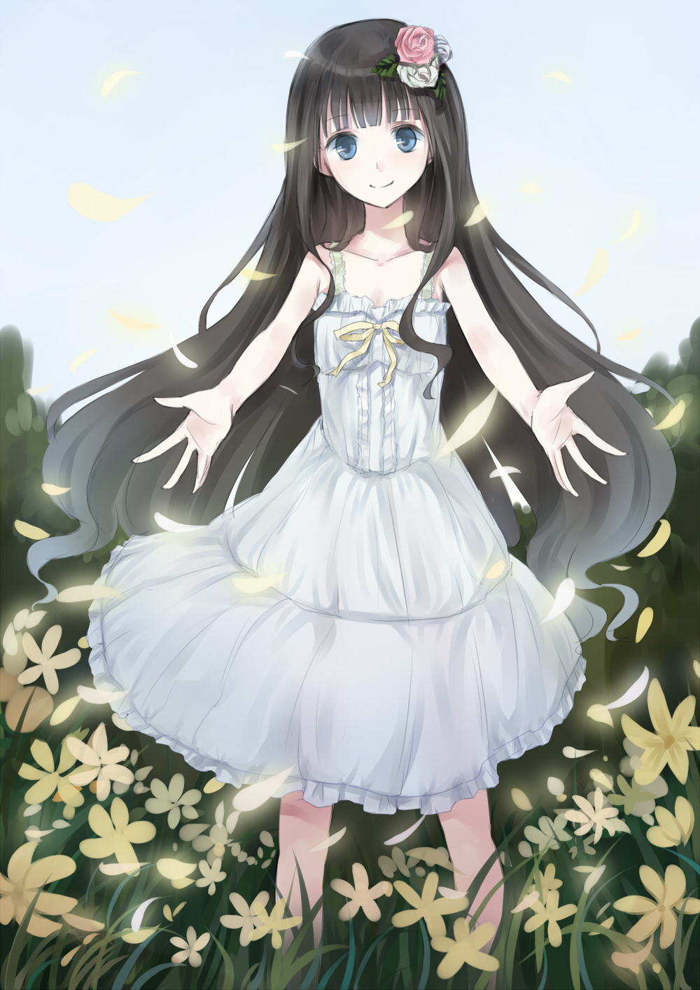 Anime girl with long black hair and blue eyes
