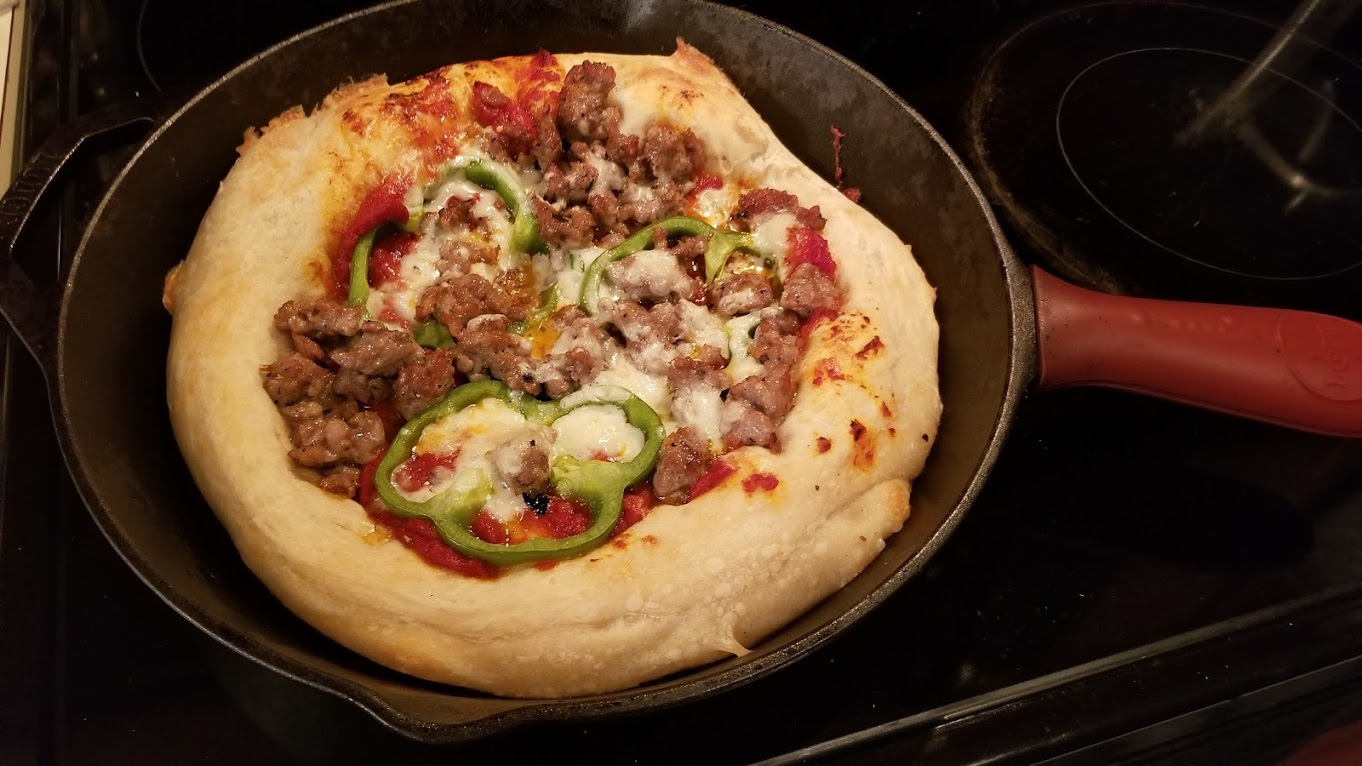 Dinnerly deep-dish pizza with sausage and green pepper