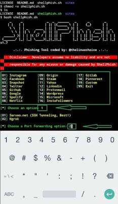 SHELLPHISH - Phishing Tool for 18 social media (over internet) using Termux [2019]