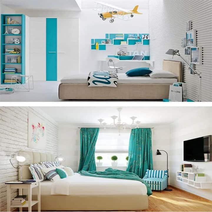 غرفة نوم باللون الفيروزي و الأبيض