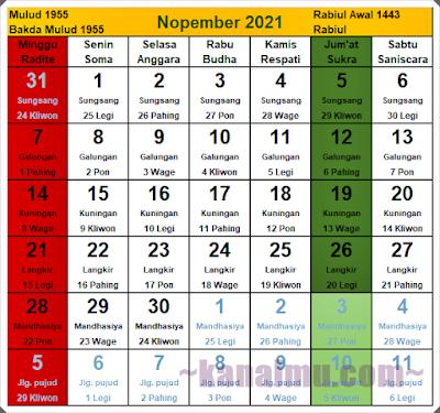 kalender jawa bulan november 2021 - kanalmu