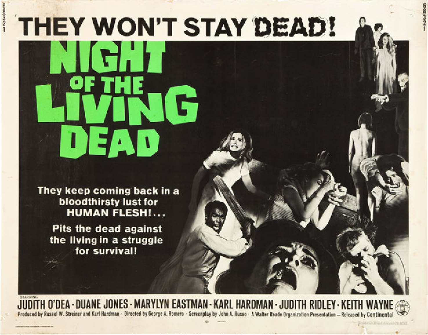 Night of the living dead vintage horror movie poster #3