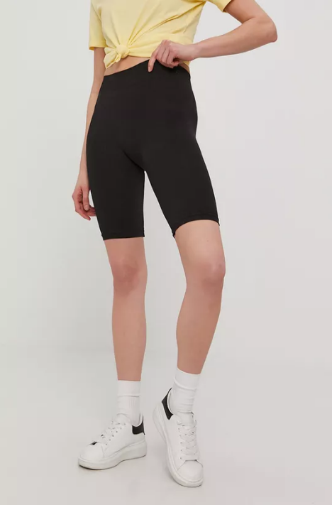 Vero Moda - Pantaloni scurti negri cu talien ianlte slimfit
