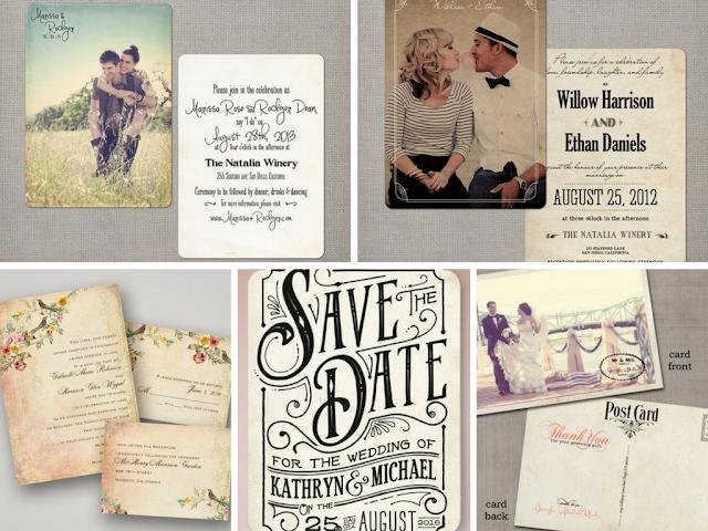 Convites de casamento vintage