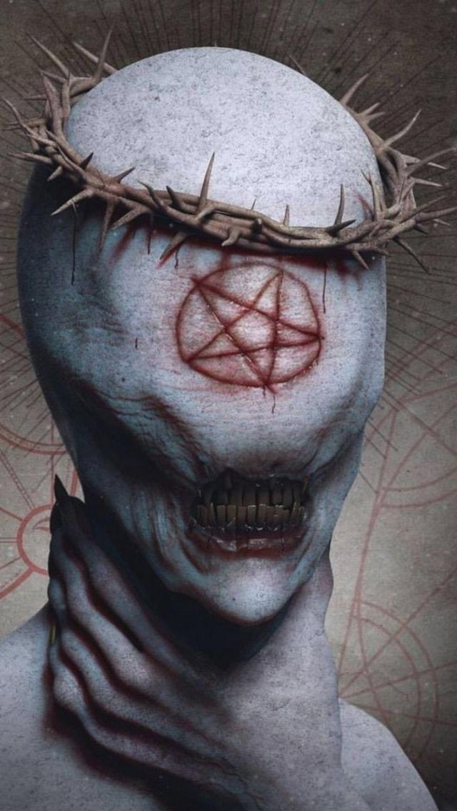 Wallpaper Horror, corona di spine, stella di Davide, tiro satanico, stella,