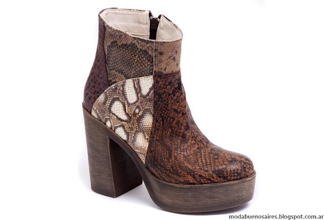 Botas de cuero, animal print, taco alto cuadrado Traza Calzado. Moda invierno 2016 botas de cuero.