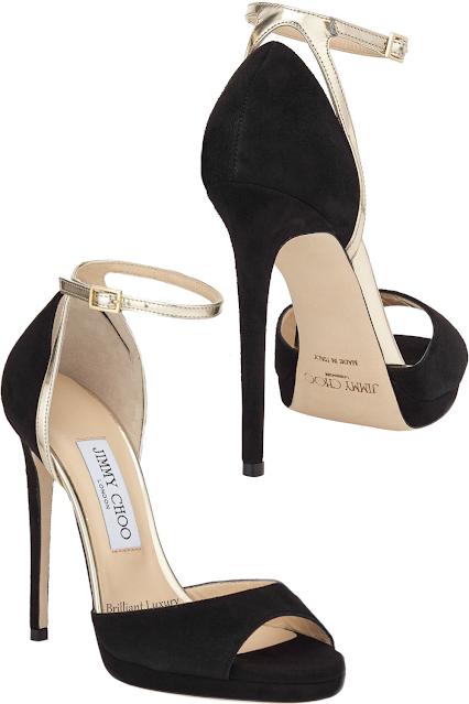 Jimmy Choo Pearl gold metallic leather-trimmed suede sandals #brilliantluxury