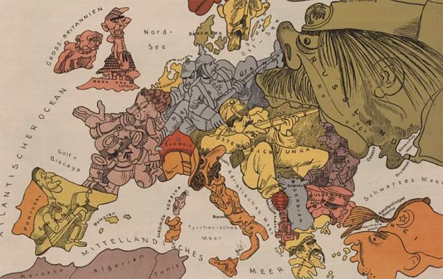 Ο ευρωπαϊκός εθνικισμός και ανταγωνισμός στα χρόνια του Πρώτου Παγκοσμίου Πολέμου, χάρτης εποχής / Map illustrating the era of World War I and the tensions between the nations