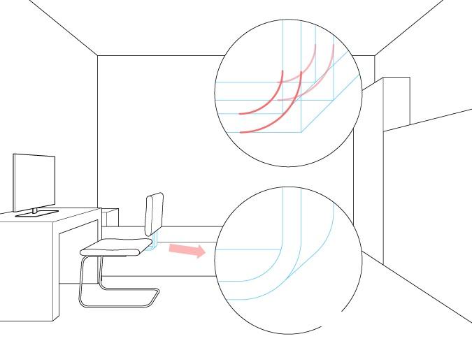 Perspektif satu titik menggambar lampiran sandaran kursi komputer