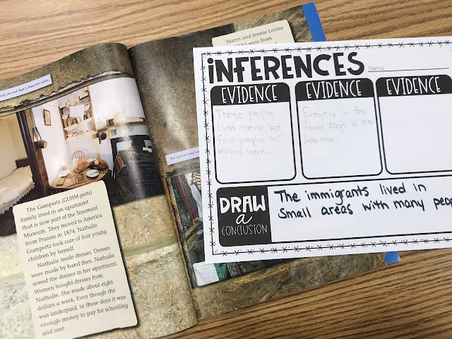 "Social Studies book with a Graphic Organizer with text ""Inferences"""