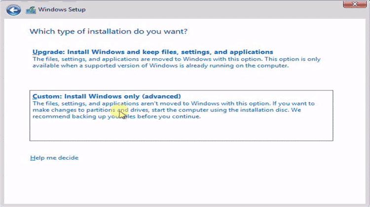 custom cara instal windows 8