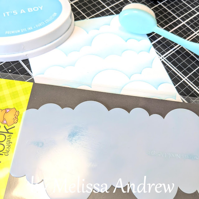 Always on my Mind Kitty Card by June Guest Designer Melissa Andrew | Process photo using Clouds Stencil by Newton's Nook Designs #newtonsnook #handmade