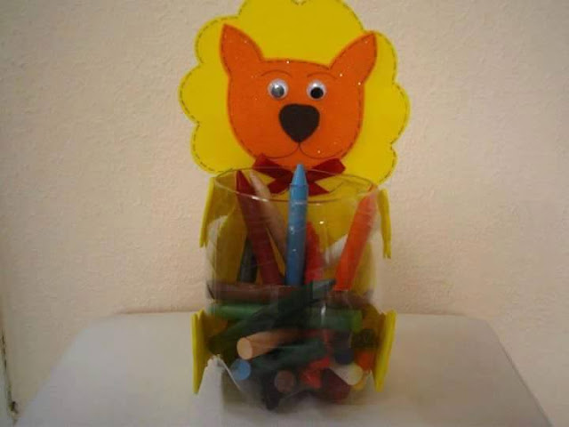 Idea to make something from bottle for kids : lion pencils case