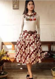 Baju Dress Batik Kombinasi Polos Modern