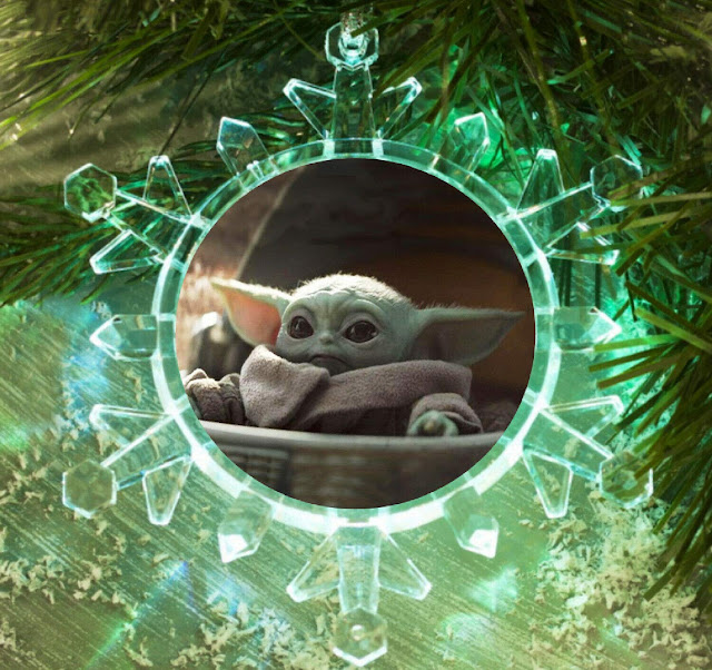 The Mandalorian Star Wars Baby Yoda Snowflake Blinking Light,