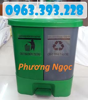 Thùng rác 2 ngăn 40L đạp chân, thùng rác nhựa HDPE 40 Lít 40L