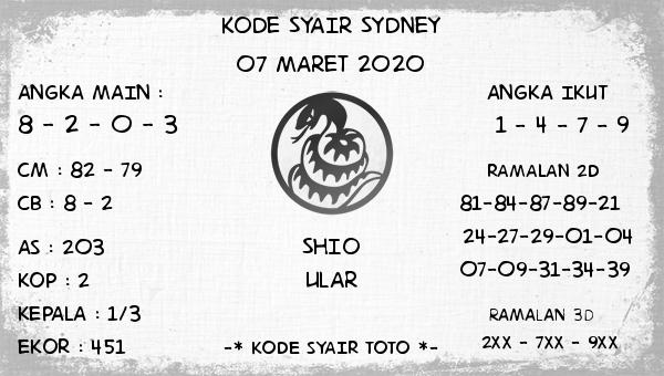 Prediksi Togel Sidney Sabtu 07 Maret 2020 - Kode Syair Toto