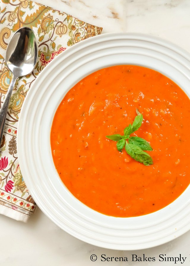 How to make Roasted Tomato Basil Soup With Orzo with fresh tomatoes from Serena Bakes Simply From Scratch.