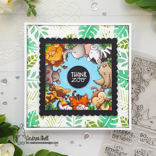 Thank Zoo card by Andrea Shell | Zoo Party Stamp Set, Tropical Leaves Stencil and Frames Squared Die Set by Newton's Nook Designs #newtonsnook #handmade