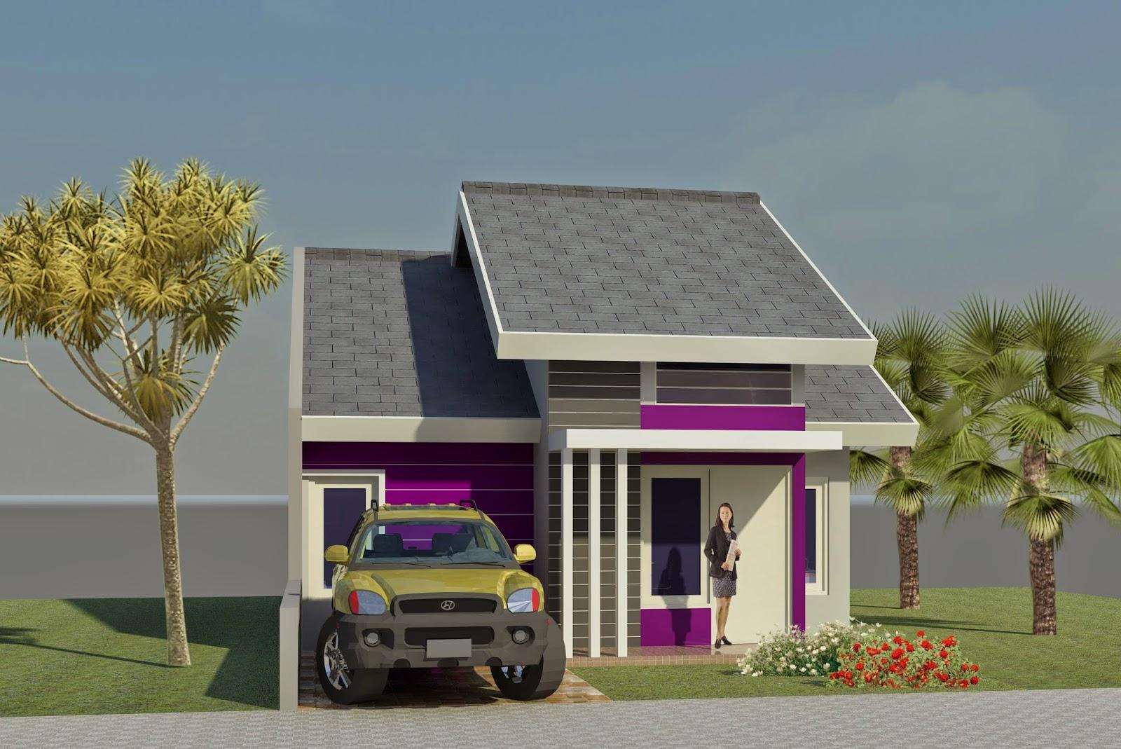 Gambar Desain 3D Rumah Minimalis type 45 1 lantai