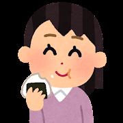 おにぎりを食べる人のイラスト(女性)