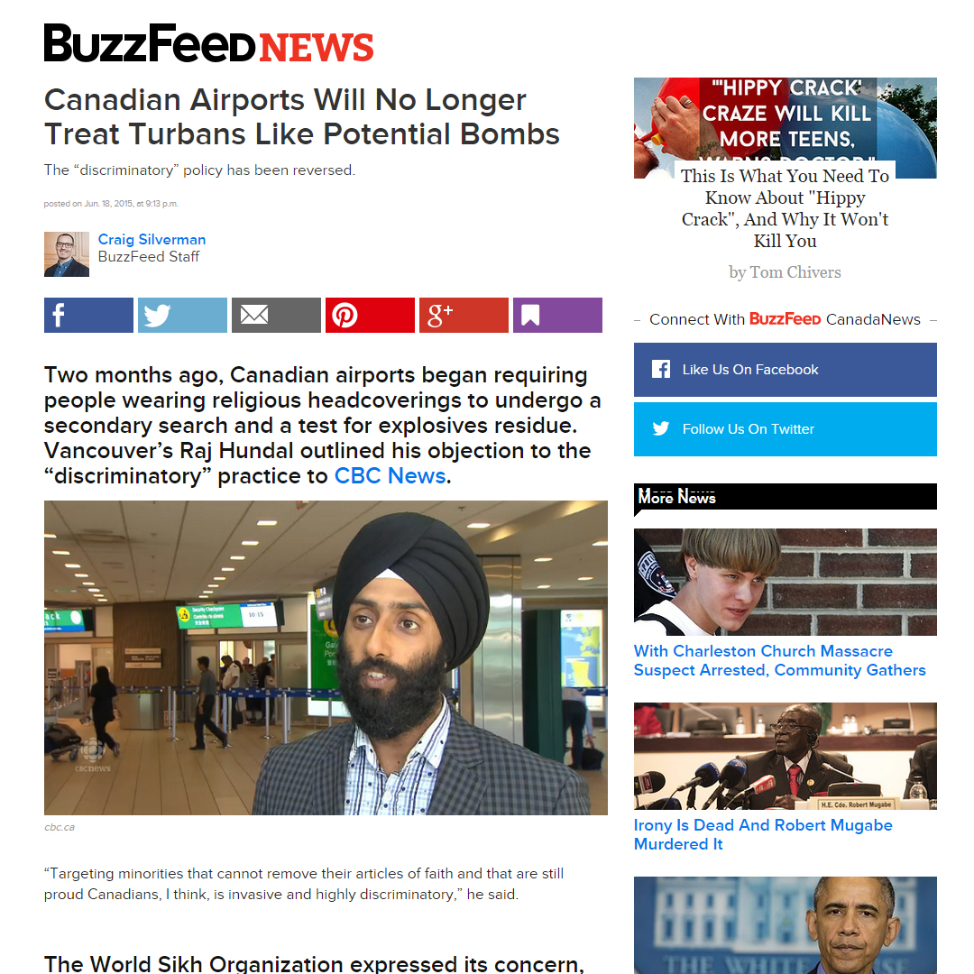 Buzzfeed News Canadian Airport Turban Article