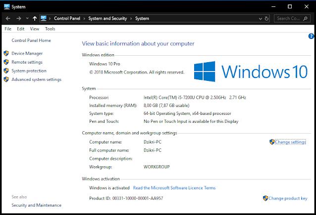 cek versi Windows System info