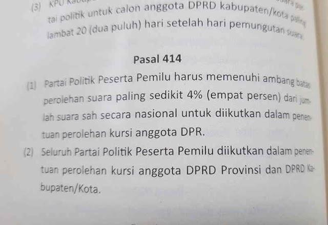 Untuk DPRD Provinsi dan DPRD Kabupaten/kota itu  Ambang batas parlemen sebesar 4 persen tidak di gunakan Pasal 414 poin 1 dan 2 Pasal 415 poin 1 UU No. 7/2017