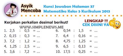 Kunci Jawaban Halaman 37 Matematika Kelas 5 Kurikulum 2013 www.simplenews.me