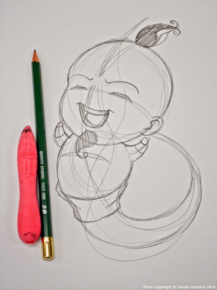 Sketch Drawing of Chibi Genie
