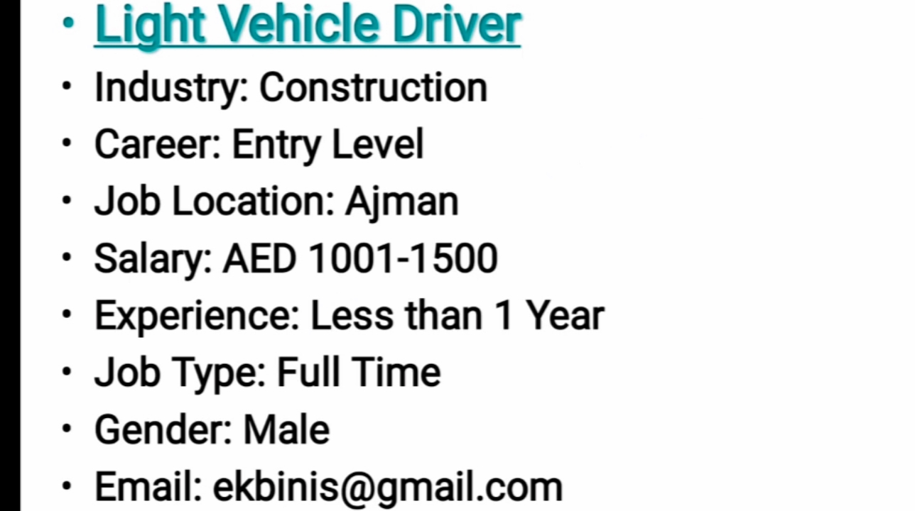 NEW REQUIREMENTS - DUBAI - APPLY - Career Opportunities4you
