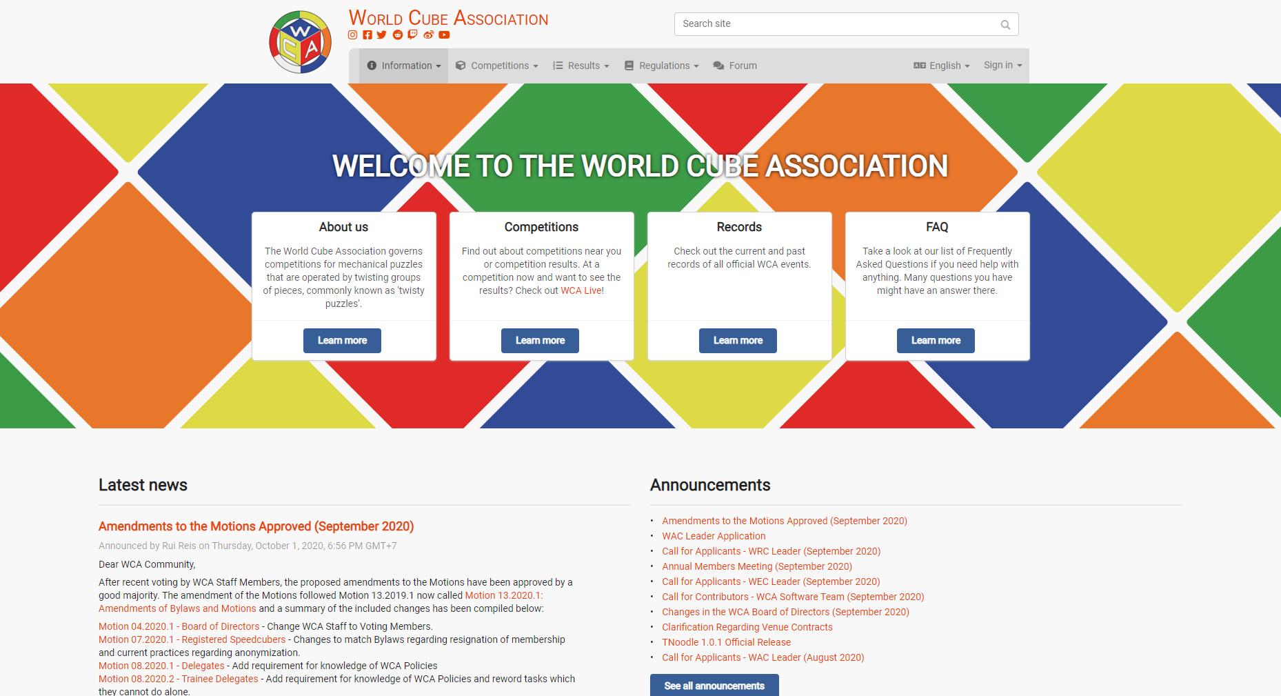 WCA homepage website