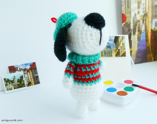 1000 схем амигуруми на русском собачка в берете и свитере