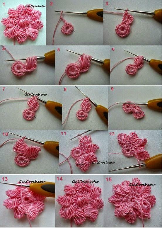Flor artesanal con ganchillo paso a paso en imágenes | Crochet y Dos ...