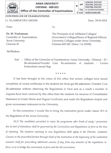 Anna University New notification for Readmission